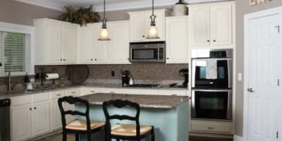 Duck Egg Blue Old White Painted Kitchen Cabinets