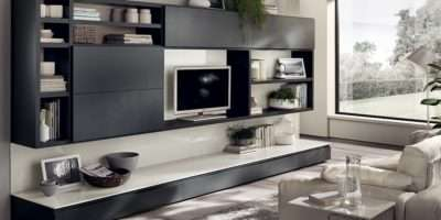 Dynamic Living Room Compositions Versatile Wall Unit Systems