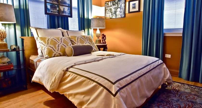 Eclectic Orange Bedroom Bold Blue Curtains Apricot