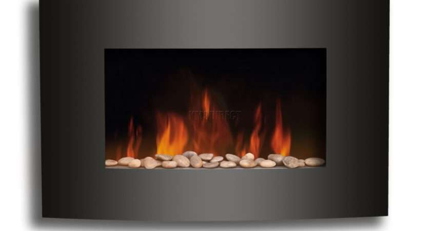 Electric Fire Fireplace Black Curved Glass Heater Flame Effect