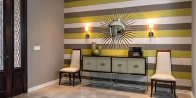 Elegant Contemporary Foyer Bold Horizontal Striped