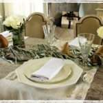 Elegant White Rustic Christmas Table Decorations Above Vintage