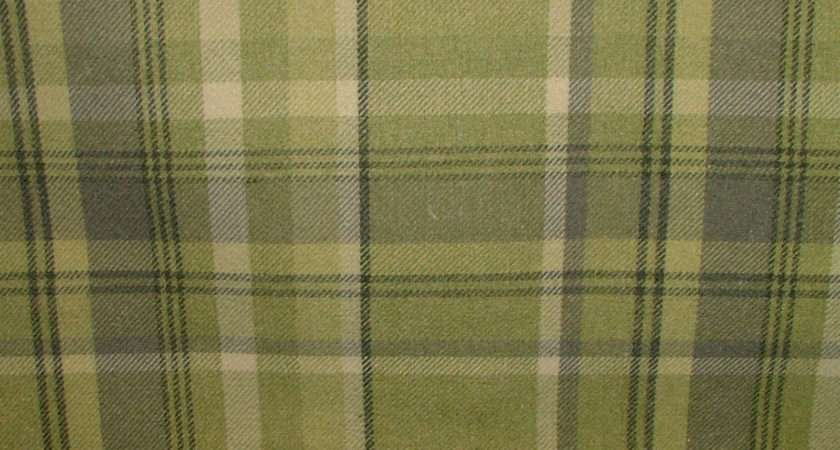 Elgin Sage Green Wool Effect Washable Thick Tartan Curtain