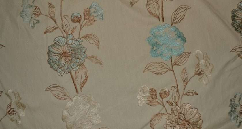 Embroidered Duck Egg Blue Floral Curtain Fabric Livingstone Textiles