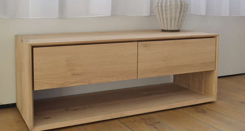 End Bed Storage Ethnicraft Low Unit Nordic Collection
