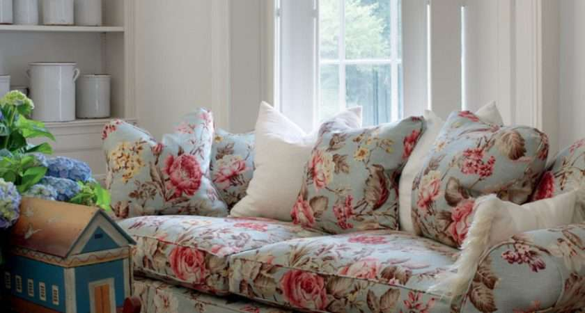 English Country Cottage Ironstone Floral Sofa