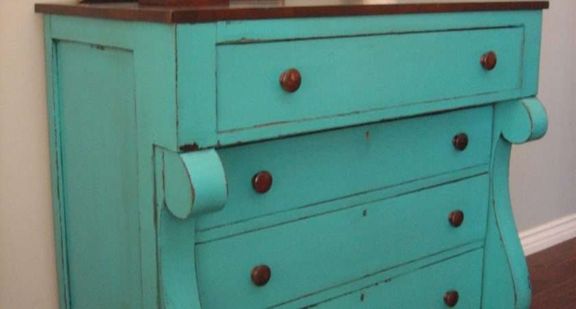 European Paint Finishes Teal Chest Drawers