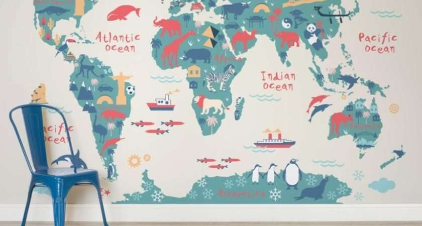 Explorer Kids World Map Mural Adastra