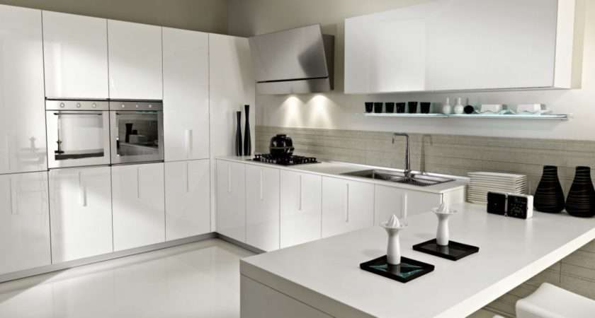 Exquisite Contemporary All White Kitchen Themes Decors