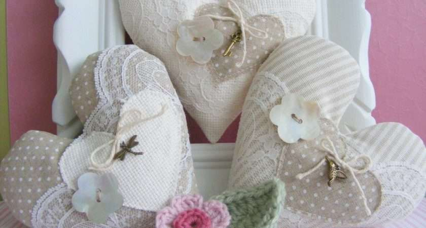 Fabric Hearts Set Three Bowl Fillers Home Decor