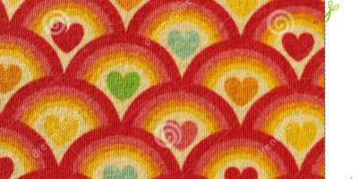 Fabric Red Heart Pattern