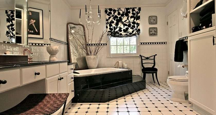 Fabulous Black White Bathroom Combines Several Different Textures