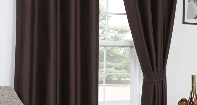 Faux Silk Blackout Chocolate Eyelet Curtains