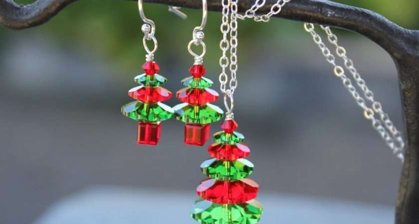 Fern Green Siam Red Christmas Tree Sterling Silver Necklace