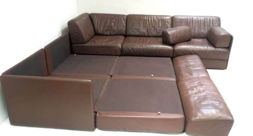 Five Section Modular Leather Corner Sofa Sede