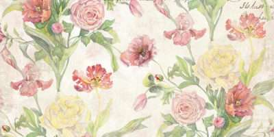Fleurs Pivoine Watercolor French Vintage