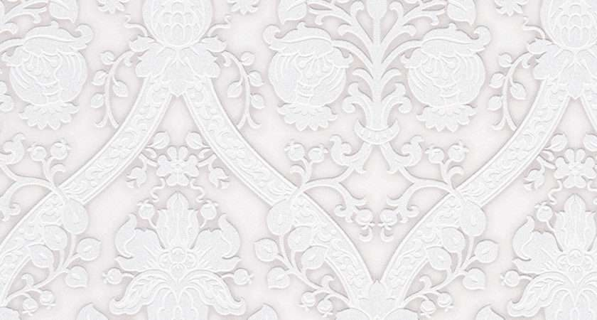Flock Effects Damask Glitter Off White