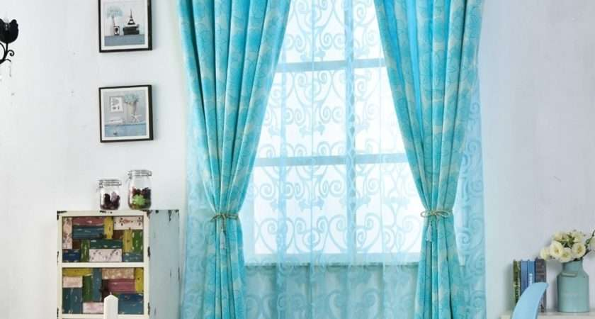 Floral Curtains Living Room Window Blue Black Shade