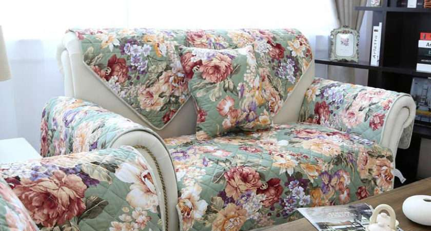 Floral Print Quilting Sofa Cover Cotton Double Sided