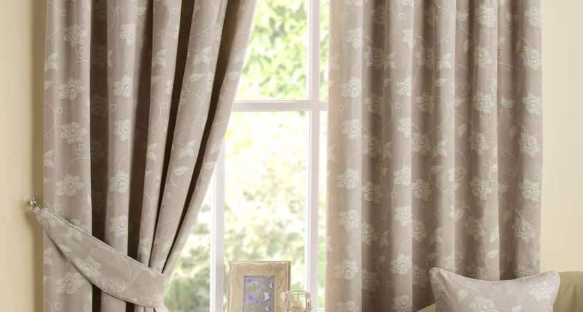 Floral Scroll Ready Made Eyelet Curtains Fully Lined