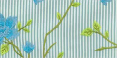 Flowers Striped Embroidered White Green Blue Floral Curtains