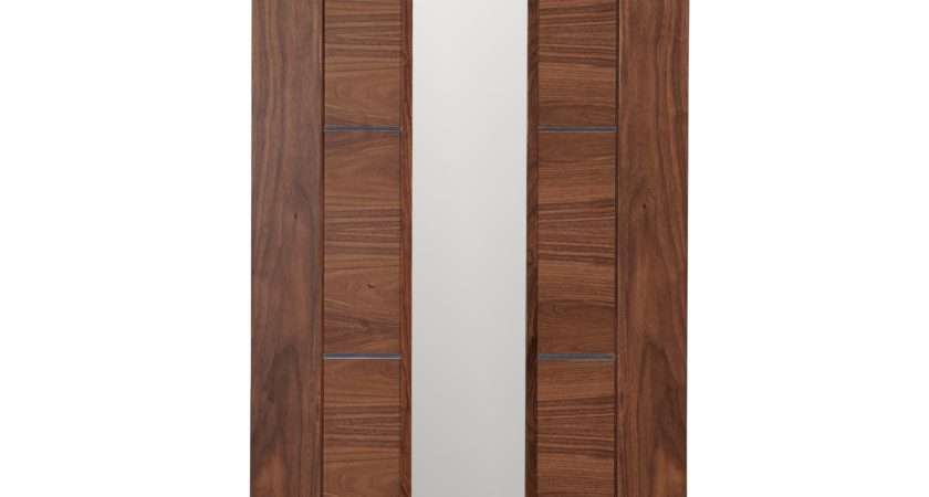 Flush Panel Walnut Veneer Glazed Internal Standard Door