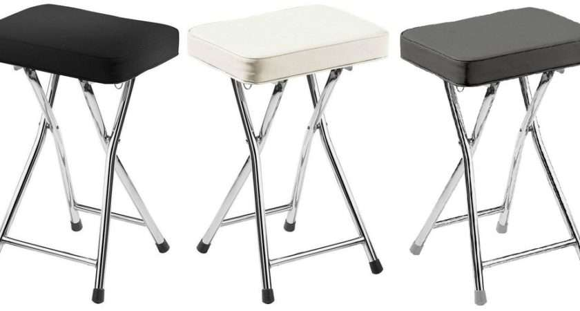 Folding Breakfast Bar Stool Padded Faux Leather Seat Chrome Frame