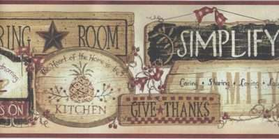 Folk Art Kitchen Inspirational Signs Wide Border
