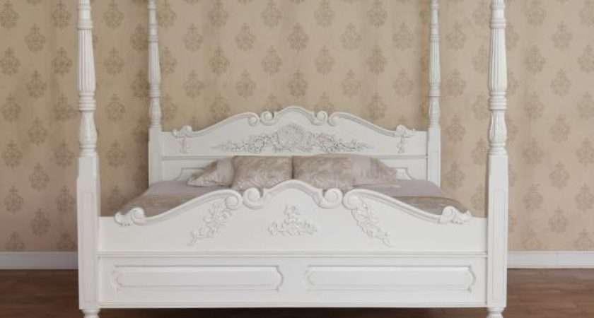 Four Poster Bed Antique White Mahogany