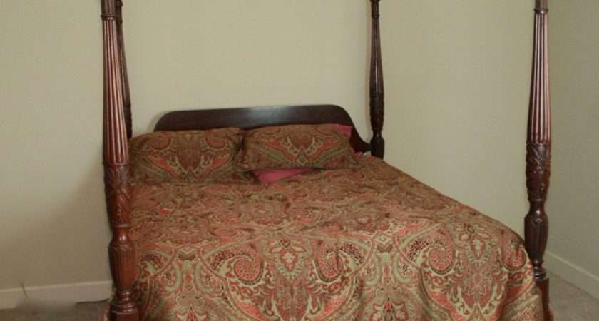 Four Poster Rice Carved Canopy Bed Ebth