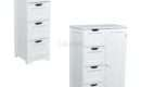 Foxhunter White Wooden Drawer Bathroom Storage Cupboard
