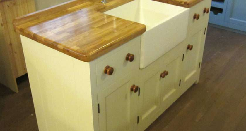 Freestanding Pine Kitchen Belfast Sink Unit Oak