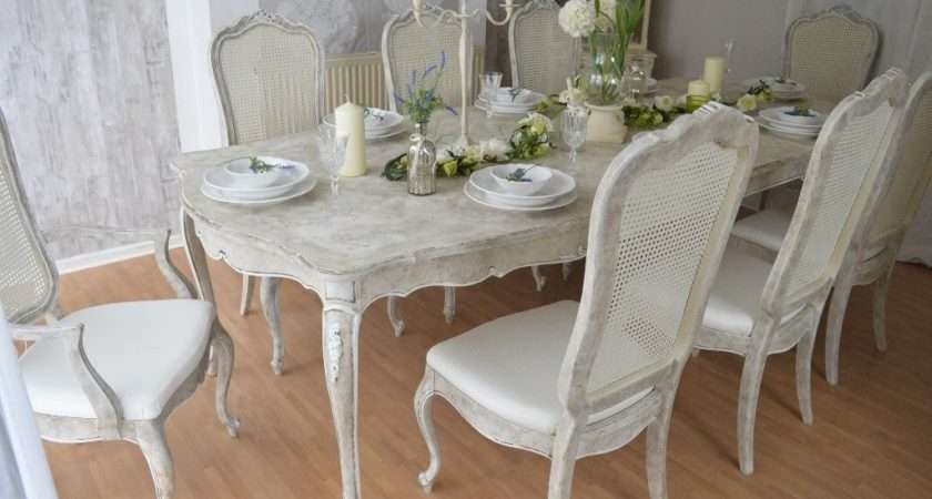 French Antique Shabby Chic Unique Dining Table