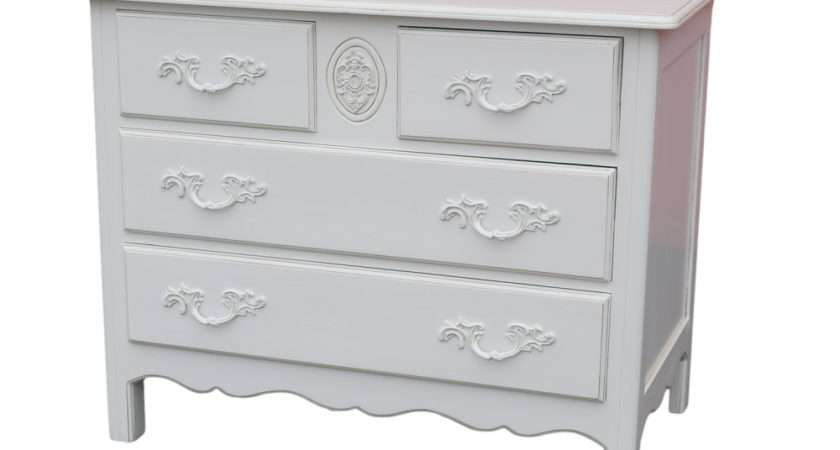 French White Wooden Carved Over Chest Drawers