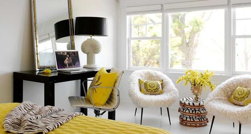 Fun Yellow Accents Black White Bedroom
