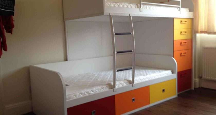 Funky Bunk Staggered Bed Storage Custom Colour