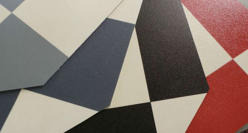 Funky Checker Vinyl Flooring Red Blue Grey Black White Check
