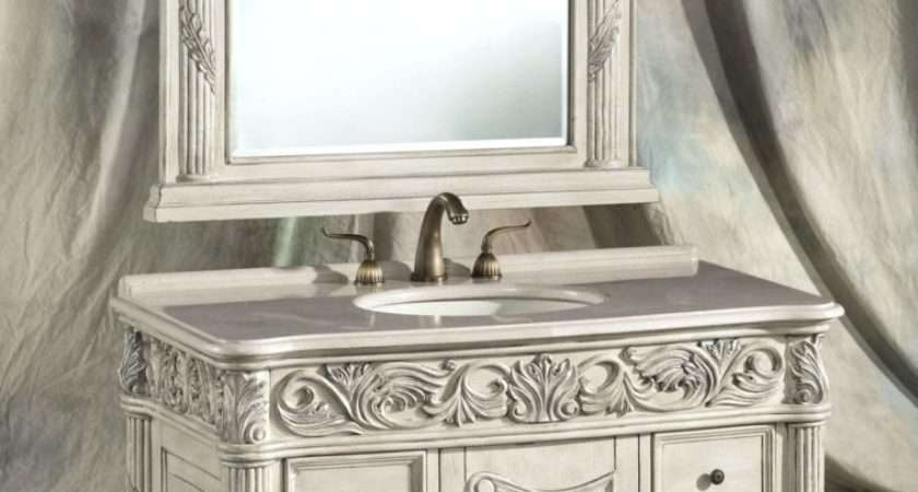 Furniture Carved White Wooden Shabby Bathroom Vanity