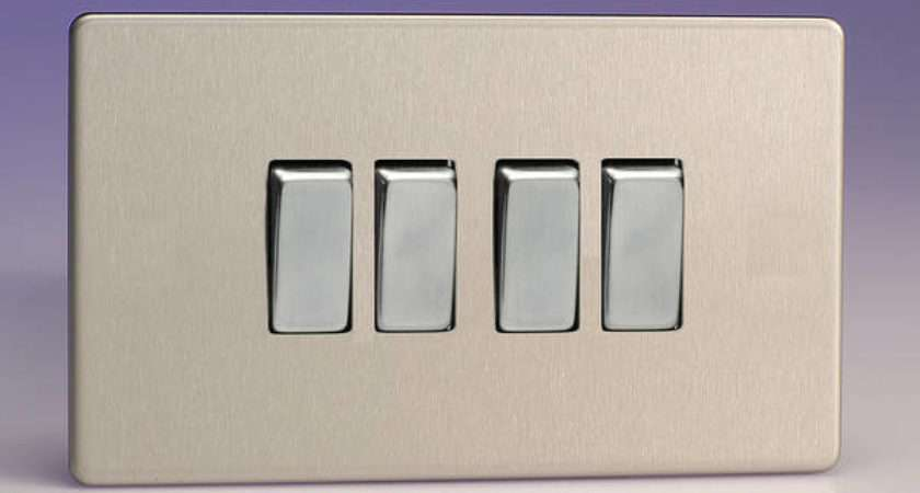 Gang Way Light Switch Brushed Stainless Steel