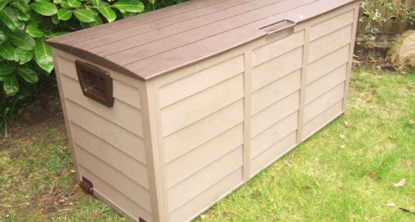 Garden Storage Chest Utility Cushion Box Shed Plastic Mocca Brown