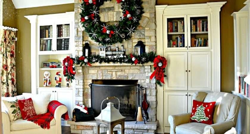Giant Wreath Above Fireplace Mantel Steals Show