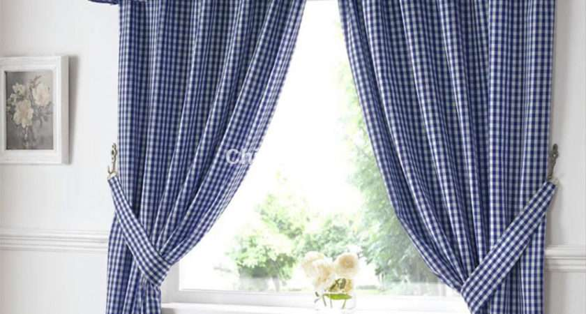 Gingham Ready Made Kitchen Curtains Blue