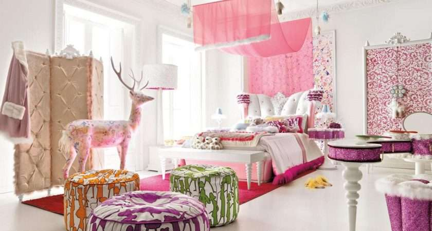 Girls Room Paint Ideas Colorful Stripes Beautiful Flower