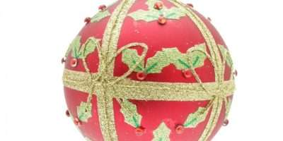 Gisela Graham Matte Red Holly Parcel Bauble Christmas Tree