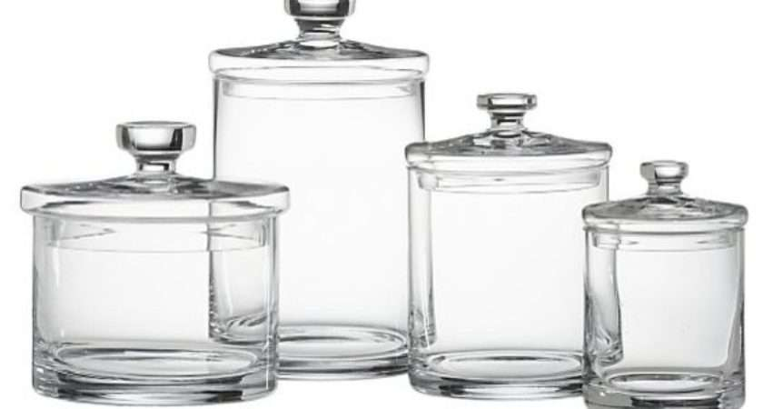 Glass Canisters Set Transitional Bathroom