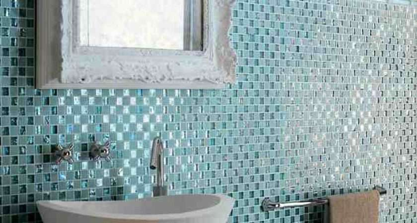 Glass Mosaic Tile Blue Antique Bathroom Mirror