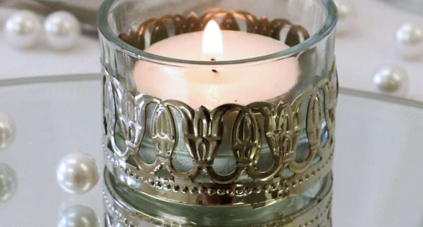 Glass Tealight Holder Metal Decoration