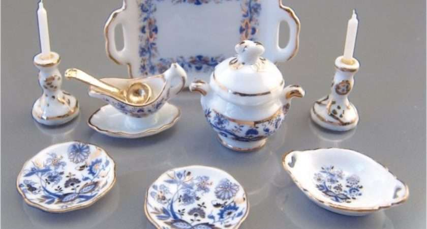 Gold Blue Onion Dinner Set White Pinterest