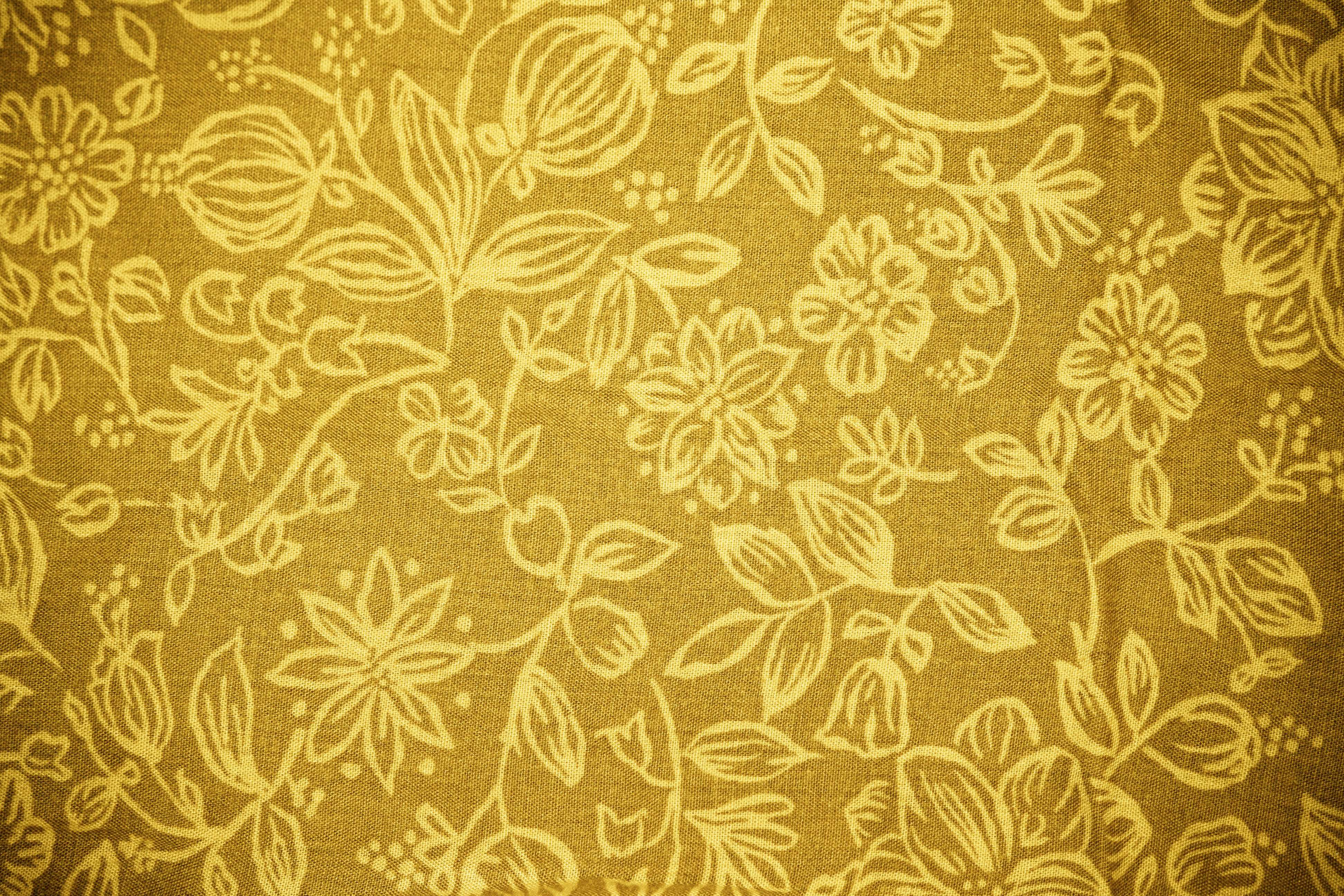 Gold Fabric Floral Pattern Texture