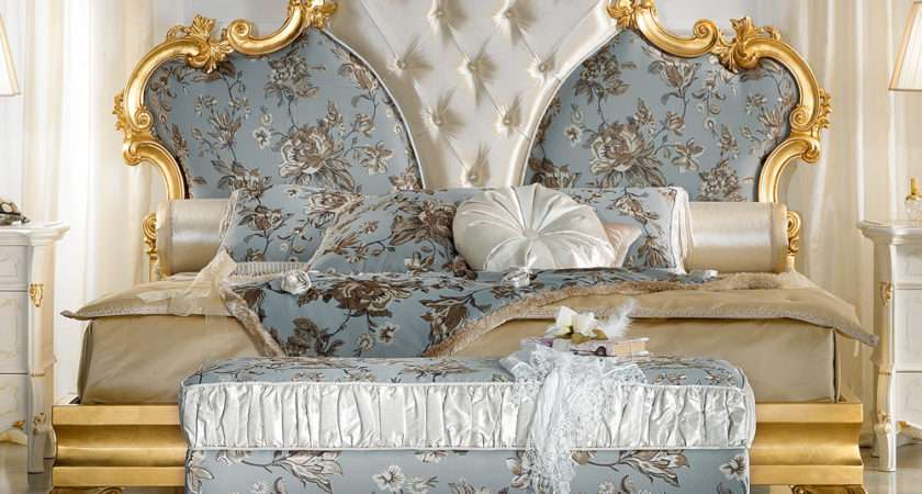 Gold Leaf Rococo Button Upholstered Bed Juliettes Interiors